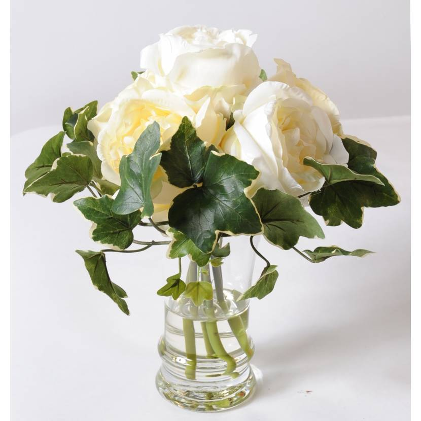 Bouquet artificiel rose blanche for Bouquet de roses blanches