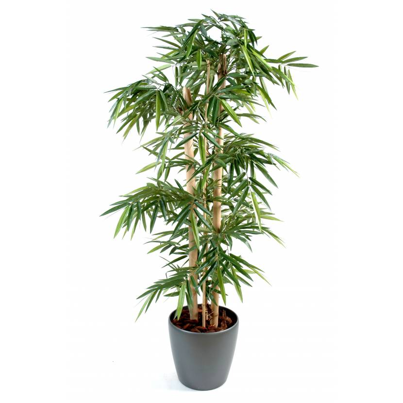 Bambou artificiel grosses cannes en pot rond for Plante interieur bambou