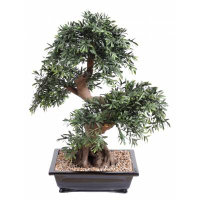 Bonsai artificiel BLACK WILLOW EN COUPE gravier