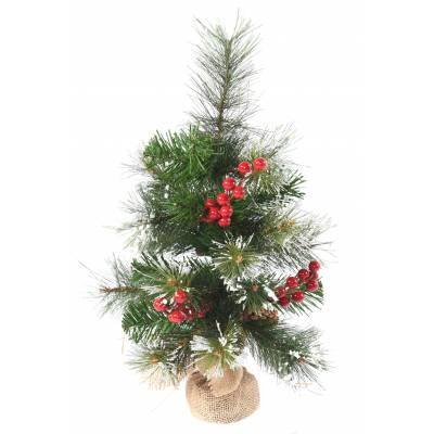 SAPIN Artificiel MINI ENNEIGE BAIES/POMME PIN