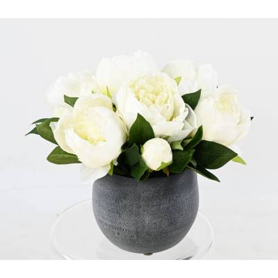 COMPOSITION of Artificial PEONIES in WHITE